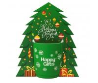 Коробка-украшение для чашки( D=8 см) в виде елки Цвет: белый