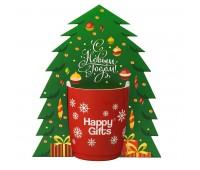 Коробка-украшение для чашки( D=9 см) в виде елки Цвет: белый