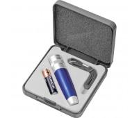 Набор: фонарь, ланъярд и батарейка Цвет: серебристый, синий