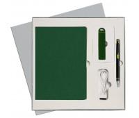 Подарочный набор Portobello/Latte зеленый (Ежедневник недат А5, Ручка, Power Bank)