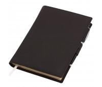 Ежедневник-портфолио Clip, коричневый, эко-кожа, недатированный кремовый блок + ручка Opera (черный/хром), серая подарочная коробка