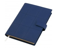 Ежедневник-портфолио Royal, синий, эко-кожа, недатированный кремовый блок, серая подарочная коробка
