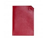 Чехол для паспорта PURE 140*90 мм., застежка на кнопке, натуральная кожа (фактурная), красный