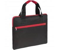 Конференц-сумка Unit Сontour, черная с красной отделкой