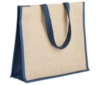 Холщовая сумка для покупок Bagari со светло-синей отделкой