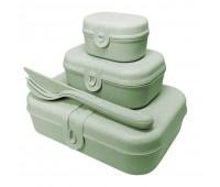 Набор ланчбоксов со столовыми приборами Pascal Organic, зеленый