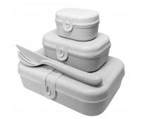 Набор ланчбоксов со столовыми приборами Pascal Organic, серый