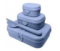 Набор ланчбоксов со столовыми приборами Pascal Organic, синий