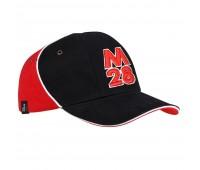 Бейсболка М28, черная с красным