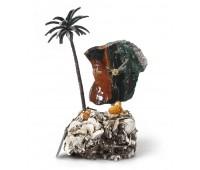 Часы «Пальмовый рай» из яшмы с бронзой