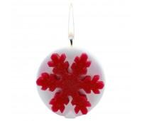 Свеча «Снежинка», белая с красным