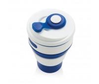 Складная силиконовая термокружка, синяя